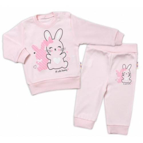 Baby Nellys Detská tepláková súprava Cute Bunny - ružová, veľ. 92 - 92 (18-24m)