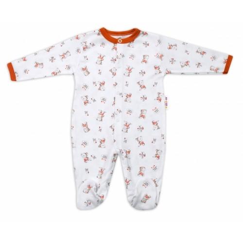 Baby Nellys Bavlnený dojčenský overal Teddy - biely - 56 (1-2m)