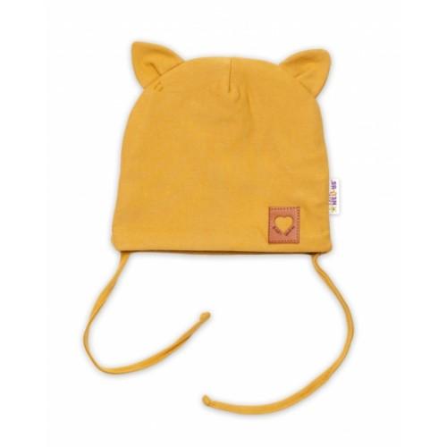 Baby Nellys Bavlnená dvojvrstvová čiapka s uškami na zaväzov. FOX - horčicová, veľ.40-42cm - 40/42 čepičky obvod