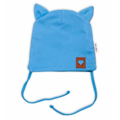 Baby Nellys Bavlnená dvojvrstvová čiapka s uškami na zaväzovanie FOX - modrá - 36/38 čepičky obvod