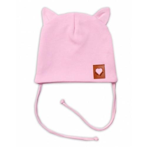 Baby Nellys Bavlnená dvojvrstvová čiapka s uškami na zaväzovanie, FOX - růžová - 36/38 čepičky obvod