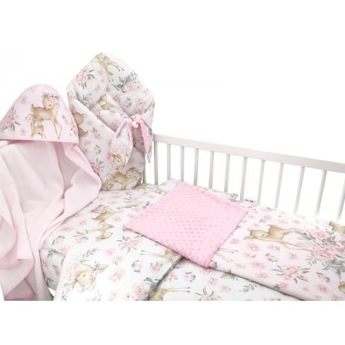 Baby Nellys 6-dielna výhod. súprava pre bábätko s darčekom,135 x 100, Srnka a ruže, růžová - 135x100