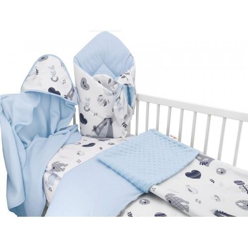 Baby Nellys 6-dielna výhod. súprava pre bábätko s darčekom,120 x 90, New Love Baby, modrá - 120x90