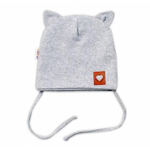 Baby Nellys Bavlnená dvojvrstvová čiapka s uškami na zaväzovanie, FOX - sivý melírok - 36/38 čepičky obvod