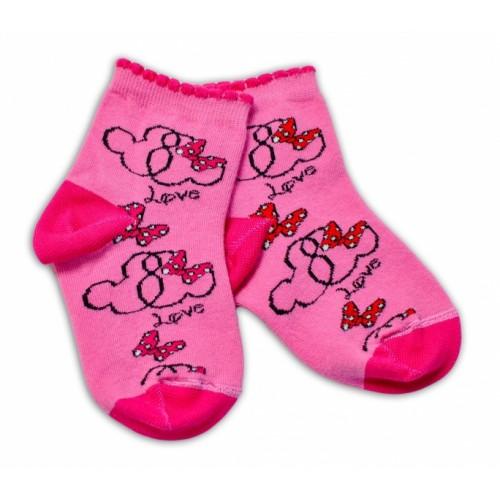 Baby Nellys Bavlnené ponožky Minnie Love - tmavo růžové, veľ. 15-16 cm - 15-16 vel. ponožek