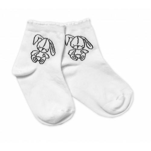Baby Nellys Bavlnené ponožky Cute Bunny - biele, veľ. 15-16 cm - 15-16 vel. ponožek