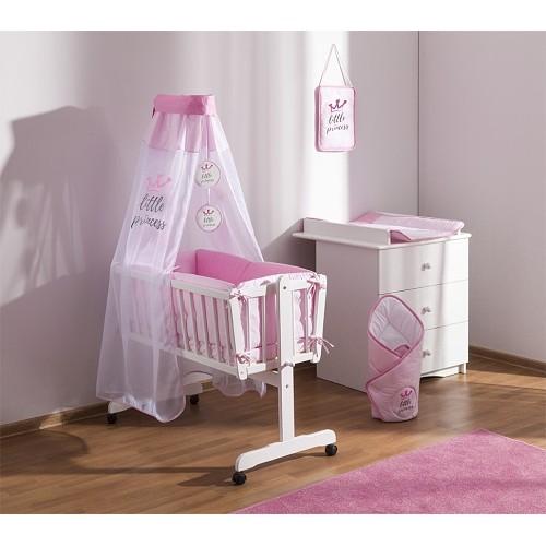 Baby Nellys 9-dielna súprava do kolísky Little Princess + zavinovačka - růžová