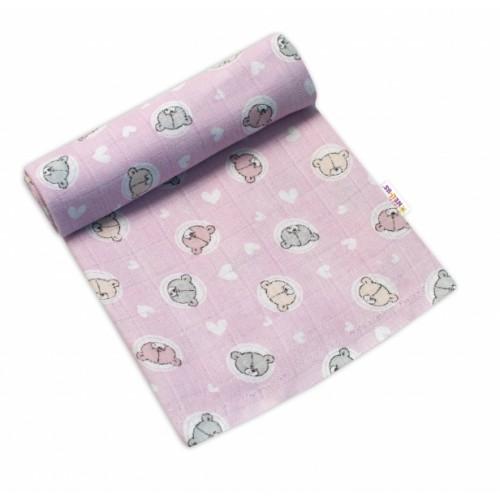 Baby Nellys Kvalitná bavlnená plienka - Tetra Premium, 70x80cm - Medvídek, růžová