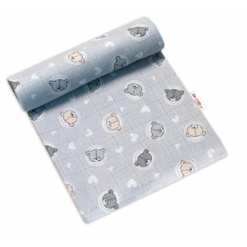 Baby Nellys Kvalitná bavlnená plienka - Tetra Premium, 70x80cm - Medvídek, sivá