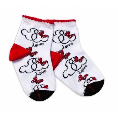 Baby Nellys Bavlnené ponožky Minnie Love - biele - 13-14 vel. ponožek