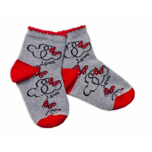 Baby Nellys Bavlnené ponožky Minnie Love - sivé, veľ. 15-16 cm - 15-16 vel. ponožek