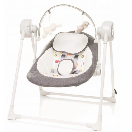 4 BABY Lehátko/hojdačka pre dojčatá Swing safari- sivá