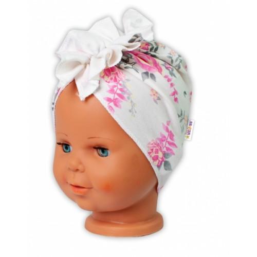 Baby Nellys bavlnená čiapka, turban New Roses, smotanová - 38/42 čepičky obvod