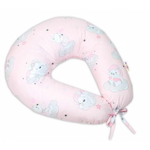 Bavlnený dojčiacy vankúš Baby Nellys, Mráček - růžová