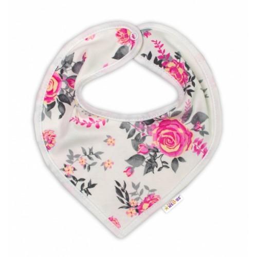 Baby Nellys Bavlnený šátek na krk New Roses - smotanový - 50 (0-1m)
