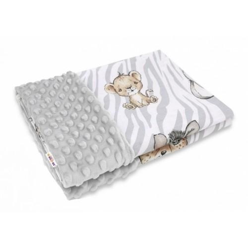 Baby Nellys Bavlnená deka s Minky 100x75cm, ZOO Natural, hnedá, šedá