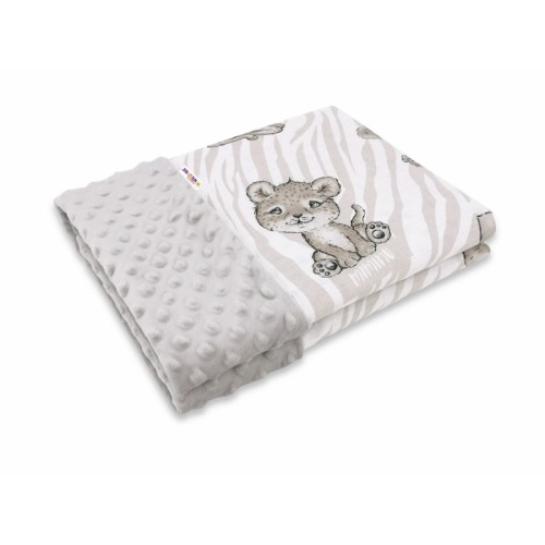 Baby Nellys Bavlnená deka s Minky 100x75cm, ZOO, bežová