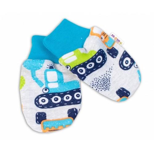 Baby Nellys Dojčenské rukavičky Bager - sivé - 56-62 (0-3m)