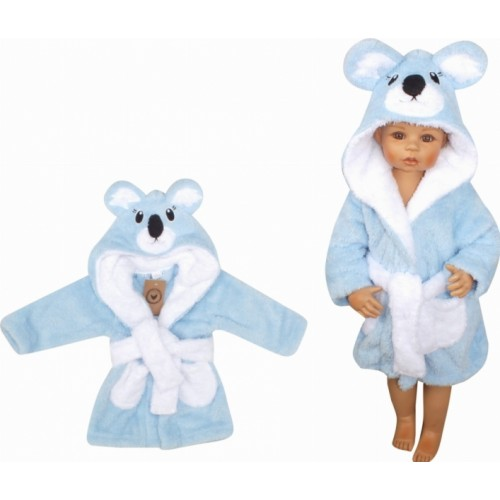 Z&Z Luxusný chlupáčkový župan s kapucňou a opaskom, Koala - modrá, veľ. 98 - 98 (24-36m)