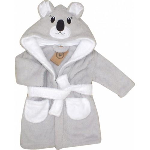 Z&Z Luxusný chlupáčkový župan s kapucňou a opaskom, Koala - sivá, veľ. 92 - 92 (18-24m)