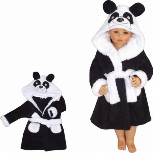 Z&Z Luxusný chlupáčkový župan s kapucňou a opaskom, Panda - čierna, veľ. 98 - 98 (24-36m)