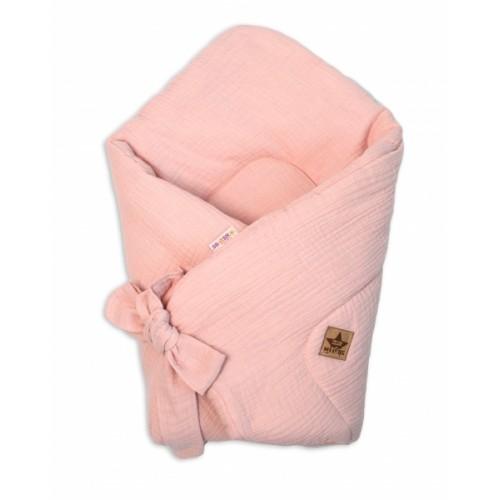 Baby Nellys Luxusná mušelínová zavinovačka - ružová