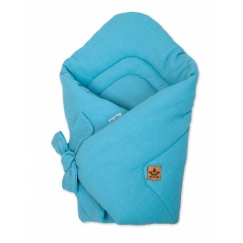 Baby Nellys Luxusná mušelínová zavinovačka - modrá
