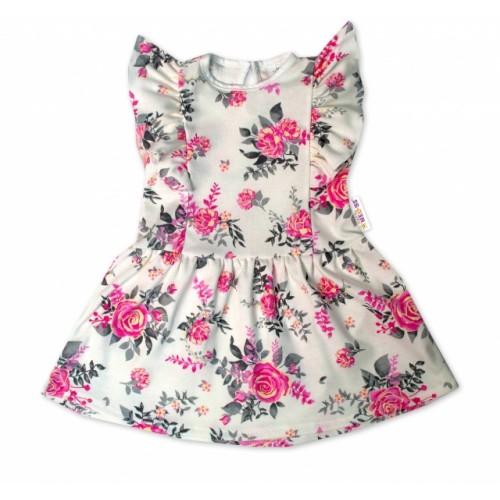 Baby Nellys Letné šaty s krátkym rukávom New Roses - smotanové, veľ. 80 - 80 (9-12m)