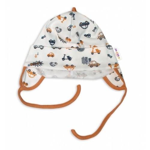 Baby Nellys Bavlnená čiapočka s uškami na zavazování- Car, smotanová / hnedá veľ. 62/68 - 74-80 (9-12m)