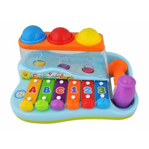 Tulimi Vzdelávacie xylofón s farebnými balónikmi a kladivkom
