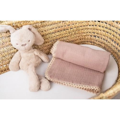 Baby Nellys Luxusná dvojvrstvová mušelínová detská deka, 75 x 100 cm, béžová