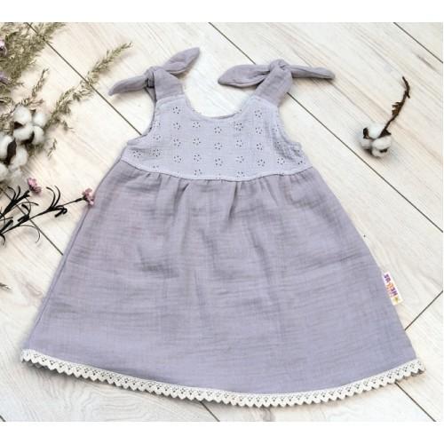 Baby Nellys Letné ľahučké mušelínové šaty Summer - šedé  - 56/62