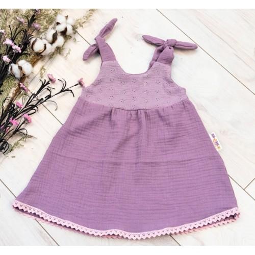 Baby Nellys Letné ľahučké mušelínové šaty Summer -  lila, levandule - 56/62