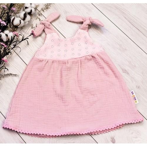 Baby Nellys Letné ľahučké mušelínové šaty Summer -  pudrová, marhula - 56/62