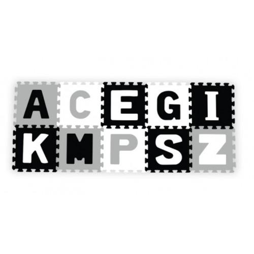 Penové puzzle - Písmená, 10ks, sivá / čierna / biela