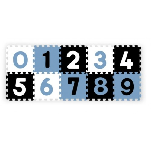Penové puzzle - Čísla, 10ks, čierna / modrá / biela