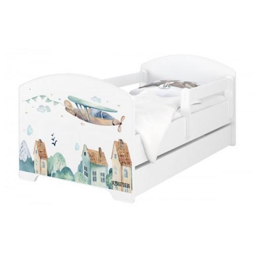 Babyboo Detská posteľ 140 x 70 cm - Letadla + šuplík - 140x70