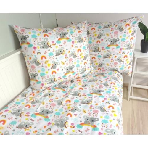 Baby Nellys Bavlněné obliečky - Koala a dúha, biela - 140x200/70x90cm