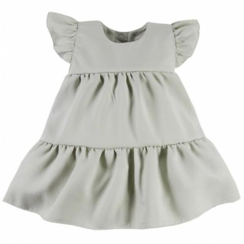 EEVI Dievčenské šaty s volánikmi Nature - khaki, veľ. 68 - 68 (4-6m)