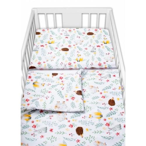 Baby Nellys 2 - dielne bavlnené obliečky - Kamaráti lúky, biela - 120x90