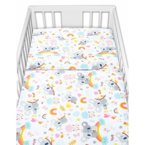 Baby Nellys 2 - dielne bavlnené obliečky - Koala a dúha, biela - 120x90