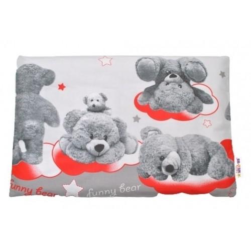 Baby Nellys Povlak na vankúšik Medvedík hviezdička, 40x60 cm - sivá / červená