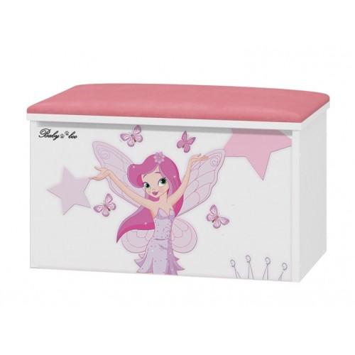 Babyboo Box na hračky s motívom   Little Princess + čalúnené sedadlo