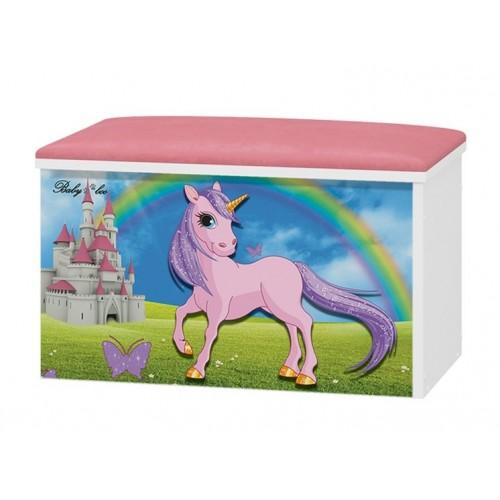 Babyboo Box na hračky s motívom Unicorn + čalúnené sedadlo
