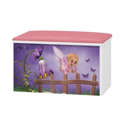 Babyboo Box na hračky s motívom Fialový zvonček + čalúnené sedadlo