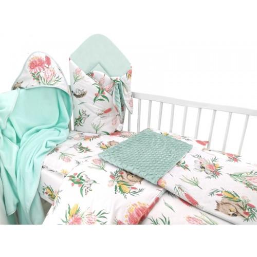 Baby Nellys 6-dielna výhod. súprava pre bábätko s darčekom,135 x 100 Exotika, biela/mátová - 135x100