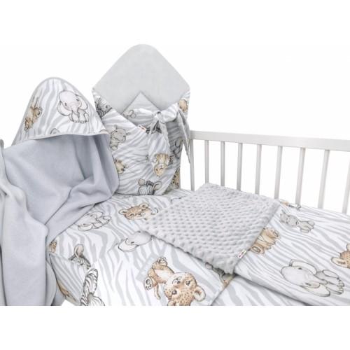 Baby Nellys 6-dielna výhod. súprava pre bábätko s darčekom,120 x 90, ZOO Natural, sivá - 120x90