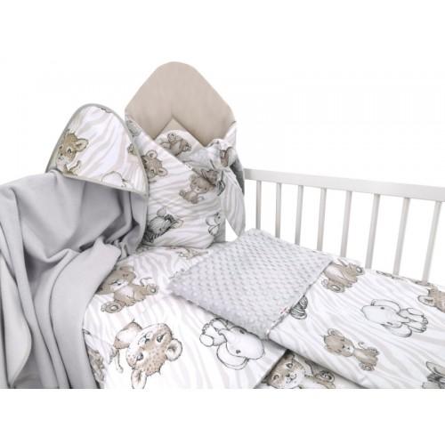 Baby Nellys 6-dielna výhod. súprava pre bábätko s darčekom,135 x 100, ZOO, béžová - 135x100