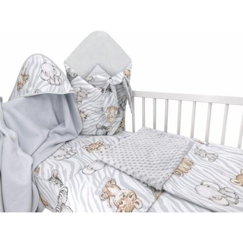 Baby Nellys 6-dielna výhod. súprava pre bábätko s darčekom,135 x 100, ZOO Natural, sivá - 135x100