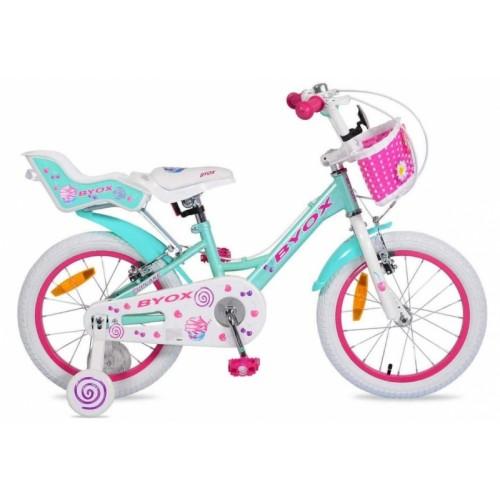 Byox Detský bicykel Cup Cake 16, tyrkys/ružové